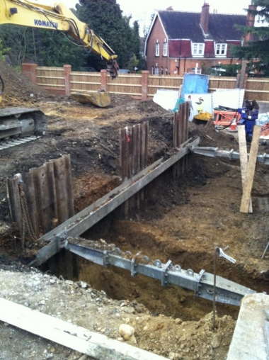 sika waterproof concrete basement excavated below road level in st albans for nhbc housing development